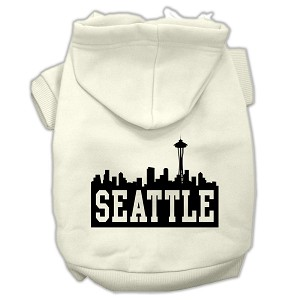 Seattle Skyline Screen Print Pet Hoodies Cream Size Med (12)