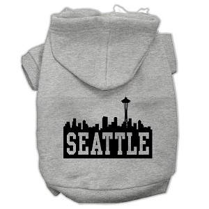 Seattle Skyline Screen Print Pet Hoodies Grey Size XS (8)