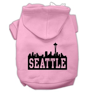 Seattle Skyline Screen Print Pet Hoodies Light Pink Size XS (8)