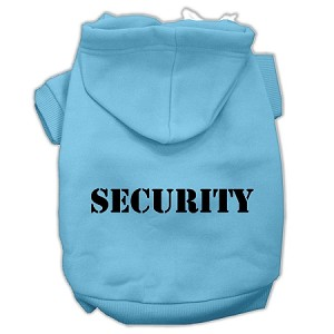 Security Screen Print Pet Hoodies Baby Blue Size w/ Black text XL (16)