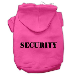 Security Screen Print Pet Hoodies Bright Pink Size w/ Black text Lg (14)