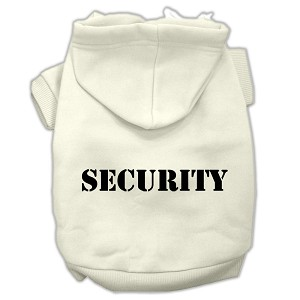 Security Screen Print Pet Hoodies Cream Size w/ Black text Lg (14)