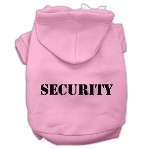 Security Screen Print Pet Hoodies Light Pink Size w/ Black text Sm (10)