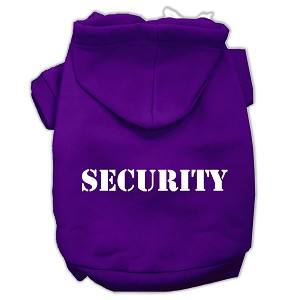 Security Screen Print Pet Hoodies Purple Size w/ Cream text Sm (10)
