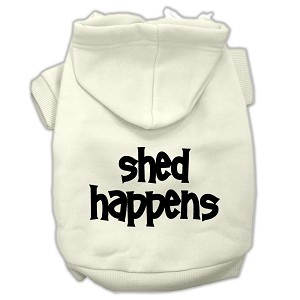 Shed Happens Screen Print Pet Hoodies Cream Size Med (12)
