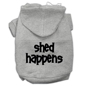 Shed Happens Screen Print Pet Hoodies Grey Size XS (8)