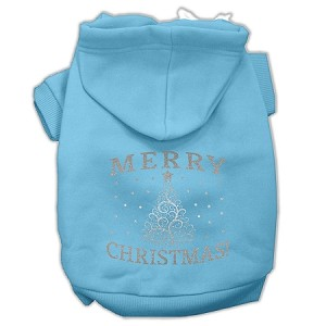 Shimmer Christmas Tree Pet Hoodies Baby Blue Size Sm (10)