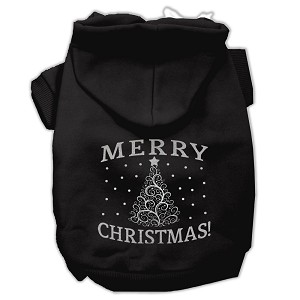 Shimmer Christmas Tree Pet Hoodies Black Size XS (8)