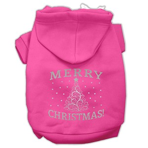 Shimmer Christmas Tree Pet Hoodies Bright Pink Size Sm (10)