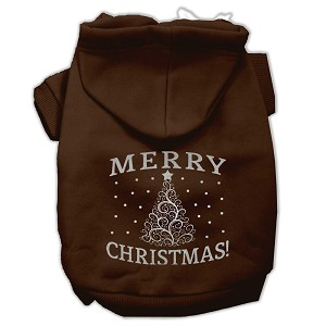 Shimmer Christmas Tree Pet Hoodies Brown Size Lg (14)
