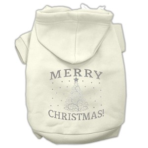 Shimmer Christmas Tree Pet Hoodies Cream Size Sm (10)