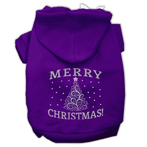 Shimmer Christmas Tree Pet Hoodies Purple Size XS (8)