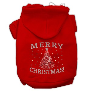Shimmer Christmas Tree Pet Hoodies Red Size XL (16)