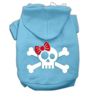 Skull Crossbone Bow Screen Print Pet Hoodies Baby Blue Size Med (12)