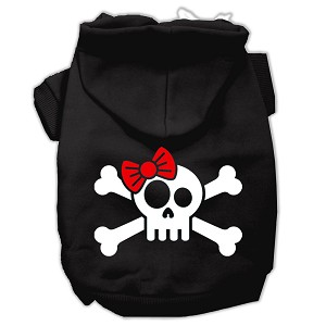 Skull Crossbone Bow Screen Print Pet Hoodies Black Size Lg (14)
