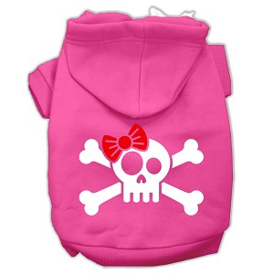 Skull Crossbone Bow Screen Print Pet Hoodies Bright Pink Size Sm (10)