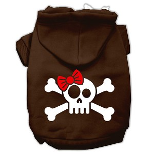 Skull Crossbone Bow Screen Print Pet Hoodies Brown Size XXXL (20)