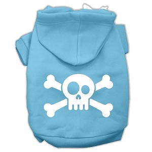 Skull Crossbone Screen Print Pet Hoodies Baby Blue Size XXL (18)