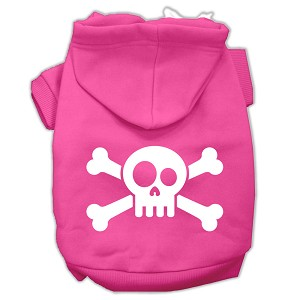 Skull Crossbone Screen Print Pet Hoodies Bright Pink Size XS (8)