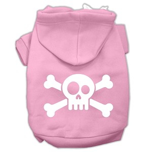 Skull Crossbone Screen Print Pet Hoodies Light Pink Size Med (12)