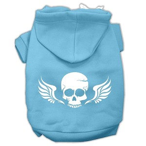 Skull Wings Screen Print Pet Hoodies Baby Blue Size XS (8)