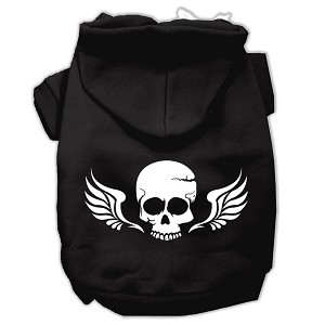 Skull Wings Screen Print Pet Hoodies Black Size XS (8)