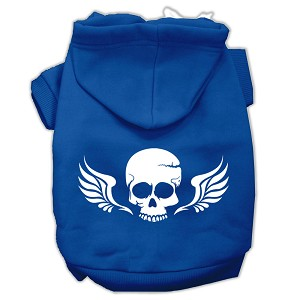 Skull Wings Screen Print Pet Hoodies Blue Size XXXL (20)