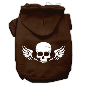 Skull Wings Screen Print Pet Hoodies Brown Size XS (8)
