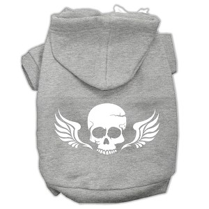 Skull Wings Screen Print Pet Hoodies Grey Size Sm (10)