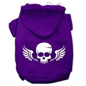 Skull Wings Screen Print Pet Hoodies Purple Size Sm (10)