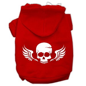 Skull Wings Screen Print Pet Hoodies Red Size XL (16)