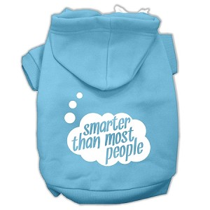 Smarter then Most People Screen Printed Dog Pet Hoodies Baby Blue Size Lg (14)