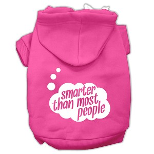 Smarter then Most People Screen Printed Dog Pet Hoodies Bright Pink Size Lg (14)