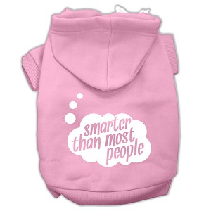 Smarter then Most People Screen Printed Dog Pet Hoodies Light Pink Size Lg (14)