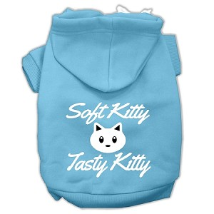 Softy Kitty, Tasty Kitty Screen Print Dog Pet Hoodies Baby Blue Size Lg (14)