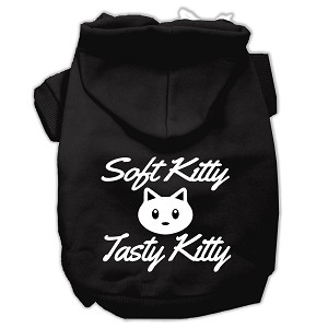 Softy Kitty, Tasty Kitty Screen Print Dog Pet Hoodies Black Size Med (12)