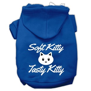 Softy Kitty, Tasty Kitty Screen Print Dog Pet Hoodies Blue Size Lg (14)