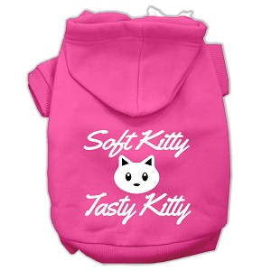 Softy Kitty, Tasty Kitty Screen Print Dog Pet Hoodies Bright Pink Size XS (8)