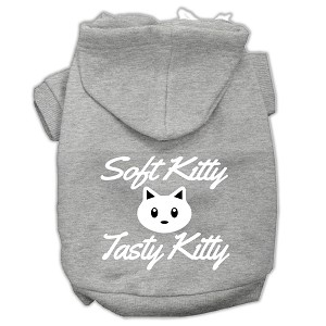 Softy Kitty, Tasty Kitty Screen Print Dog Pet Hoodies Grey Size Med (12)