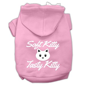 Softy Kitty, Tasty Kitty Screen Print Dog Pet Hoodies Light Pink Size Lg (14)