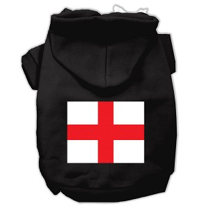 St. George's Cross (English Flag) Screen Print Pet Hoodies Black Size Med (12)