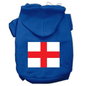 St. George's Cross (English Flag) Screen Print Pet Hoodies Blue Size Lg (14)