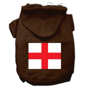 St. George's Cross (English Flag) Screen Print Pet Hoodies Brown Size Lg (14)
