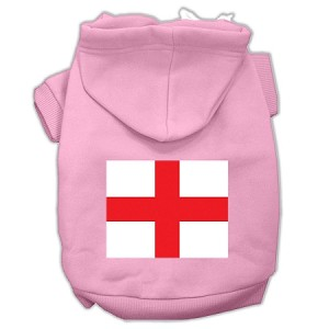 St. George's Cross (English Flag) Screen Print Pet Hoodies Light Pink Size Med (12)