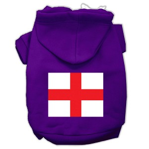 St. George's Cross (English Flag) Screen Print Pet Hoodies Purple Size Med (12)