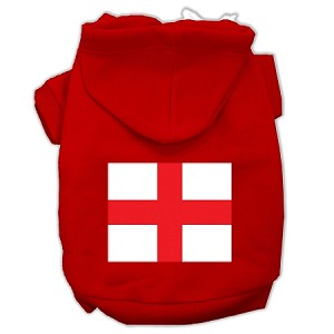 St. George's Cross (English Flag) Screen Print Pet Hoodies Red Size XL (16)
