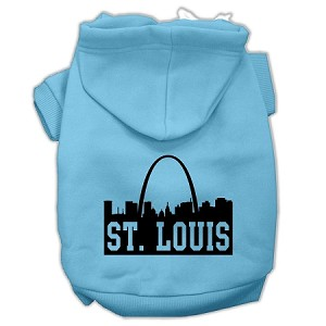 St Louis Skyline Screen Print Pet Hoodies Baby Blue Size XS (8)