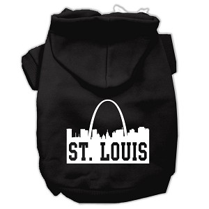 St Louis Skyline Screen Print Pet Hoodies Black Size Med (12)