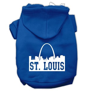 St Louis Skyline Screen Print Pet Hoodies Blue Size XXL (18)