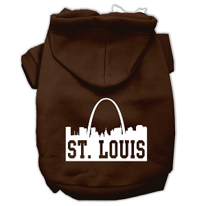 St Louis Skyline Screen Print Pet Hoodies Brown Size XS (8)